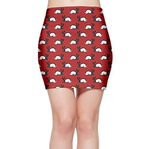 Women's Red Mod Rabbits Short Slim Fit Mini Skirt Novelty Bodycon Skirt