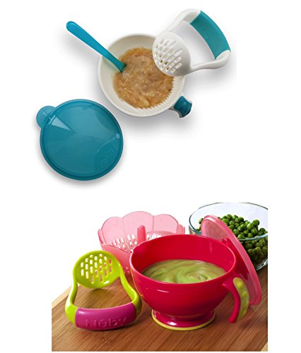 Nuby Garden Fresh Mash N' Feed Bowl with Spoon and Food Masher and Fresh Steam N' Mash Baby Food Prep Bowl and Food Masher, Colors May Vary