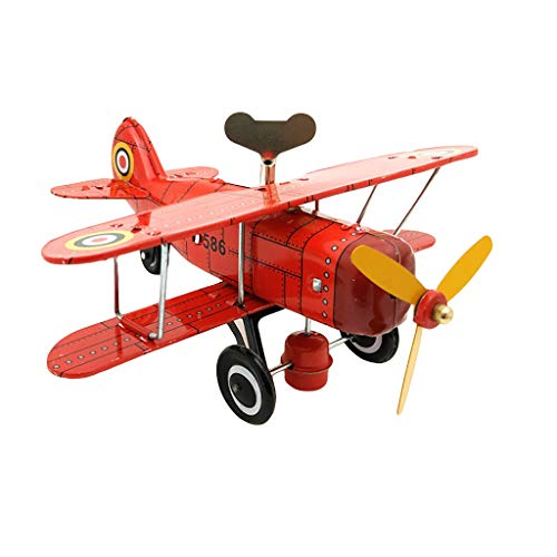 Firespit Tinplate Nostalgic Clockwork Chain Toy Photography Prop Aircraft Airplane Model Nostalgic Clockwork Toy Window Display Props Tin Plane Retro Tin Toy Christmas Birthday Gifts Boys Kids
