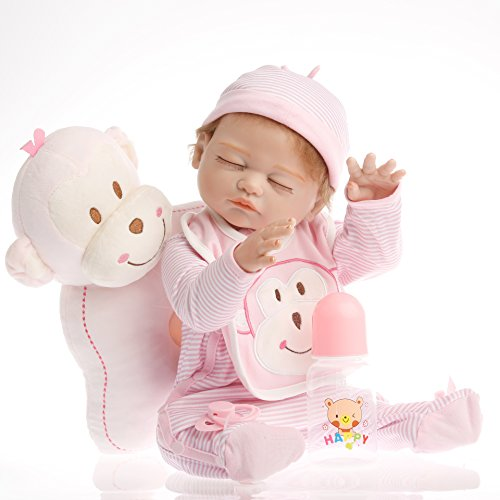 NPK Collection Reborn Baby Doll realistic baby dolls Vinyl Silicone Babies 21inch 52cm Pink Striped Sleeping Monkey