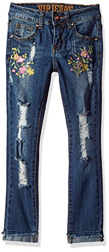 V.I.P. JEANS Girls' Big Skinny Jeans Flower Rose Embroidered, Dark Distressed, 8 ()
