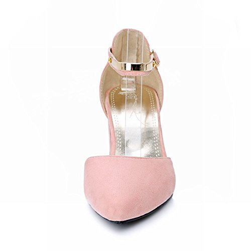 Mee Shoes Damen chunky heels ankle strap Schnalle Pumps Pink