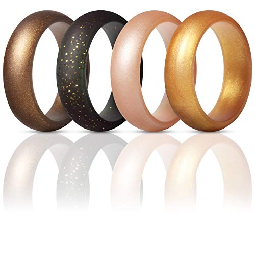 ThunderFit Silicone Rings Wedding Bands for Women 4 Pack (Black with Yellow Glitter, Gold, Rose Gold, Bronze, 3.5-4 (14.9mm)) ()