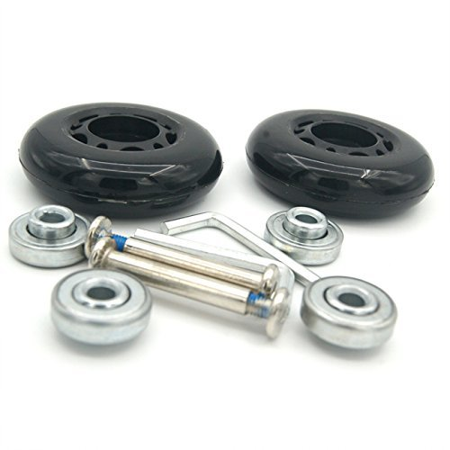 Airkoul Black Luggage Suitcase / Inline Outdoor Skate Replacement Wheels with ABEC 608zz Bearings (68X24mm)