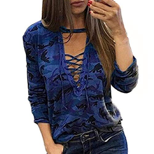 Noopvan Clearance Sale! Women Long Sleeve Camouflage Blouse Shirt Casual Fashion Loose T Shirt Tops (L, Blue)