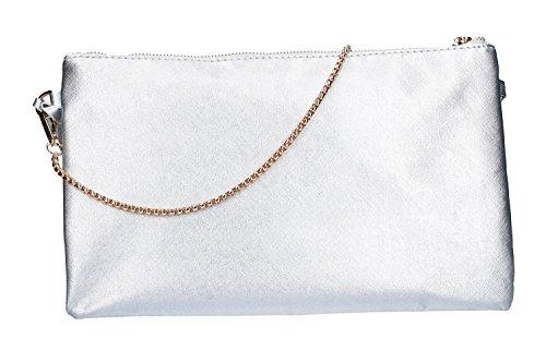 argent à femme pochette avec LAURA Sac BIAGIOTTI bandoulière à VN1956 fermeture glissière EwYRz