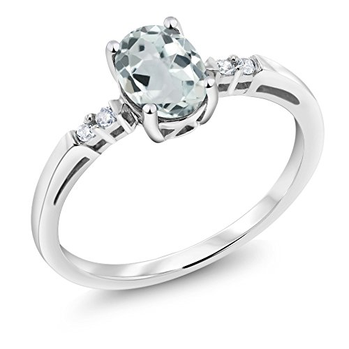 14K White Gold 0.75 Ct Oval Sky Blue Aquamarine White Diamond Ring (Available in size 5, 6, 7, 8, 9) by Gem Stone King