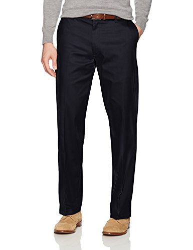 LEE Men's Total Freedom Stretch Relaxed Fit Flat Front Pant, Navy, 38W x 32L