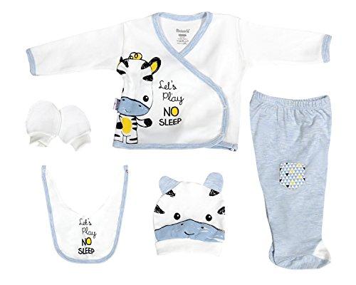 HappyLittleBabies Zebra Baby Boy Clothes Gifts, Basic Essentials Newborn Set 5-Piece Organic Layette Set (Blue)