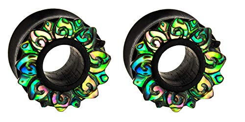 - Zaya Body Jewelry Pair of Organic Abalone Shell Iron Black Wood Hand Carved Ear Tunnels Plugs Gauges 5/8 3/4 7/8 1 inch (5/8