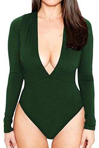 CHICE IRIS Womens Deep V Neck Stretchy Long-Sleeve