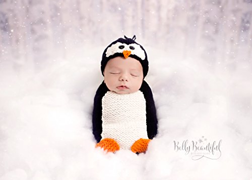 Poppy Penguin Hat and Blanket/Cocoon Set Knitting Pattern
