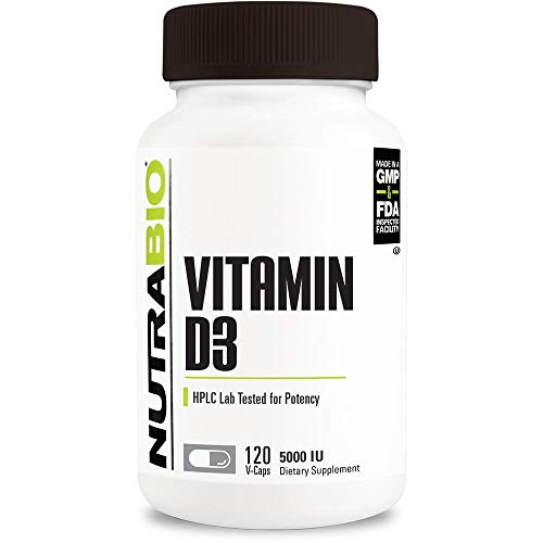 NutraBio Vitamin D (5000 IU) - 120 Vegetable Capsules