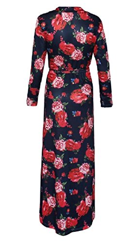Sleeve Maxi Womens Long Jaycargogo Chiffon 4 V Dresses Floral Printed Neck Long RHzInqF