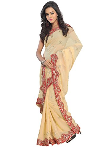 Indian Trendy Cream NW Bollywood Sequin Embroidery Sari Saree Costume Boho danse du ventre Indian Party Wear