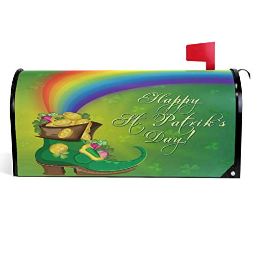 Wamika Gold Coins Lucky Clovers Shamrock Mailbox Cover Patrick's Day Leprechaun Boot Rainbow Mailbox Covers Magnetic Mailbox Wraps Post Letter Box Cover Large Size 18
