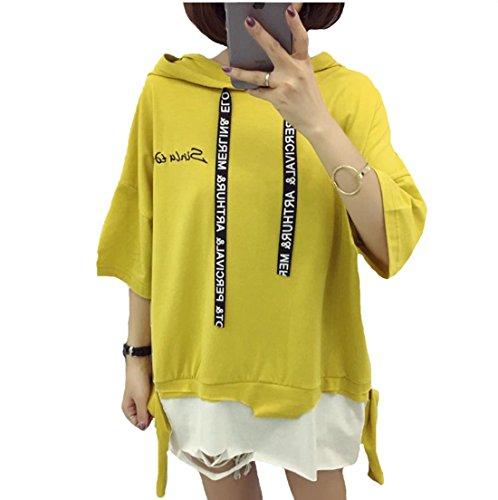 アデレード流産ボランティアS-XINY レディース Tシャツ ゆったり 七分袖 無地 シンプル Uネック カットソー トップス ファッション