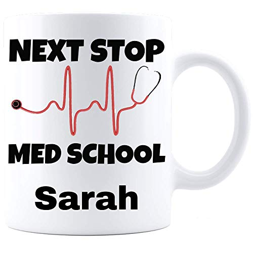 MED STUDENT GIFT Personalized Medical Students Mug Funny Future Doctor Grad Graduation Gifts Custom Name Fun Stethoscope Heartbeat Design
