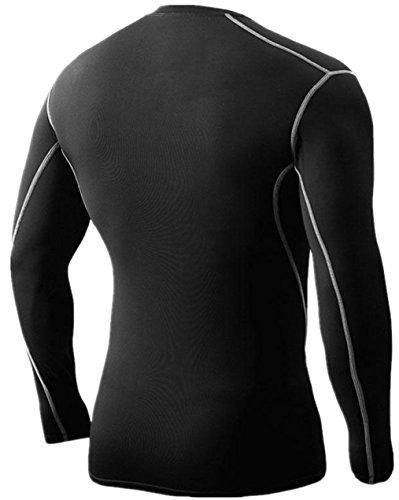 Sanke メンズ 長袖 コンプレッション スポーツ シャツ UVカット 吸汗速乾 コンプレッションウェア インナー ツーリング バイクウエア アンダーウェア フィットネス ゴルフ ジョギング トレーニング ブラック 男性