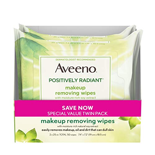 Aveeno Positively Radiant Oil-Free Makeup Removing Wipes to Help Even Skin Tone and Texture with Moisture-Rich Soy Extract, 25 ct., Twin pack (Makeup Remover Aveeno)