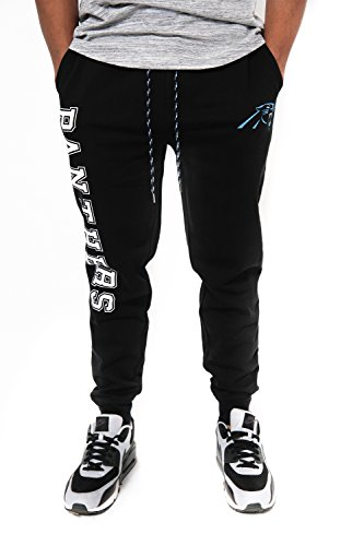 NFL Carolina Panthers Men's Jogger Pants Active Basic Fleece Sweatpants, X-Large, Black -