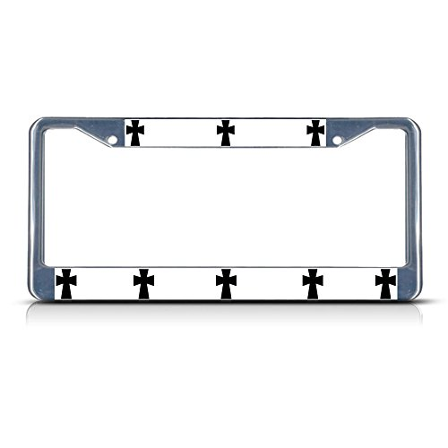 Byzantine Cross Religion Metal License Plate Frame Tag Border Two Holes Perfect for Men Women Car garadge Decor