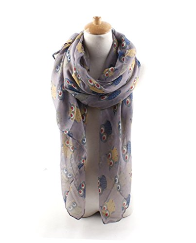 GERINLY Animal Shawl Wrap: Lovely Owl Print Scarves For Women (Lilac)