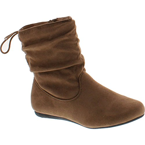 BESTON Forever Link Selena-51 Women's Stylish Slouch Side Zipper Flat Heel Mid Calf Boots,Taupe,10