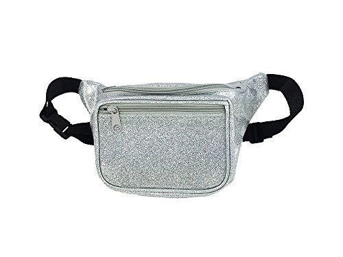 [Metallic Silver Fanny Pack, Waist Bag For Parties And Concerts (Sparkle Silver)] (One Up Mushroom Costume)