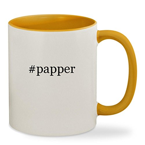 #papper - 11oz Hashtag Colored Inside & Handle Sturdy Ceramic Coffee Cup Mug, Golden Yellow