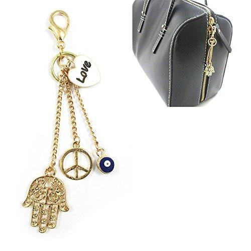 1 Gold Plated Hamsa Purse Charm Evil Eye Lucky Hand Peace Keychain Accessory !