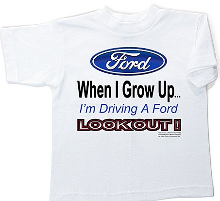 Price comparison product image Ford WHEN I GROW UP Kids Youth Size T-shirt, Youth Large (14-16)