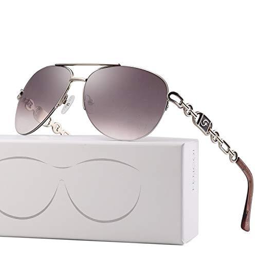 Classic Aviator Sunglasses For Women Men Metal Frame Mirrored Lens Driving Fashion UV400 Glasses 0257 (lens:brown/frame:shiny silver/temple:purple)