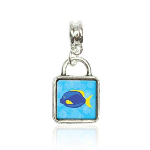 Made on Terra Tropical Fish Blue Yellow Euro European Italian Style Bracelet Bead Sqr Charm