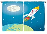 Ambesonne Kids Nursery Cartoon Print Decor Collection, Astronaut Spaceship Shuttle Rocket Universe Travel Moon Star and Earth, Window Treatments for Kids Bedroom Curtain 2 Panels Set, 108X63 Inches
