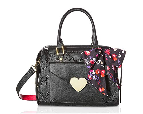 Betsey Johnson Heart Embossed Satchel With Floral Scarf Handbag - Black/Fuschia