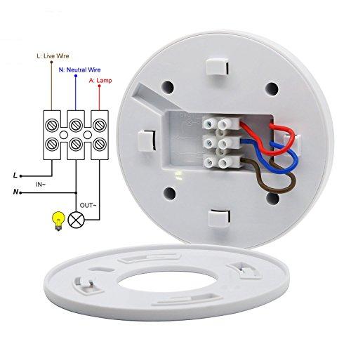 Interruptor de sensor de movimiento PIR de 360 grados, SK037 220 - 240 V 1200 W, ajuste de tiempo y lux, para luces LED, blanco: Amazon.es: Bricolaje y ...