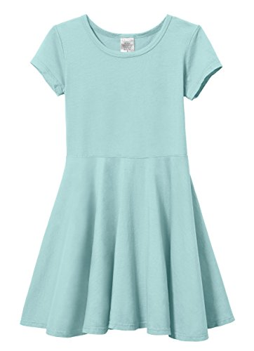 City Threads Little Girls' Short Sleeve Twirly Circle Party Dress Perfect for Sensitive Skin/SPD/Sensory Friendly for School Or Play Fall/Spring, Wave, -