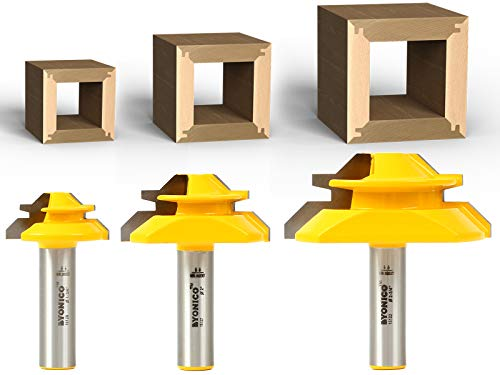 Yonico 15334 Lock Miter 45-Degree Glue Joint Router Bits 1/2-Inch Shank, Set of 3