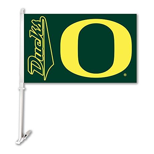 NCAA Oregon Ducks Car Flag with Wall Bracket, Team Color