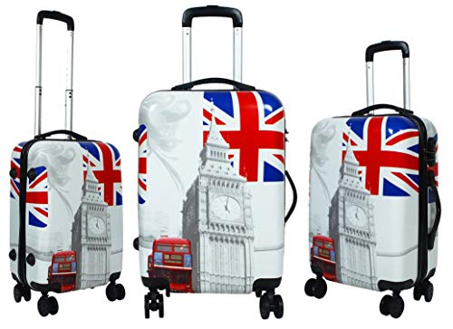 Tramp   Badger Polycarbonate Hard Sided Luggage 20+24+28 Inch Tower Printed Trolley Bag  White   Set of 3