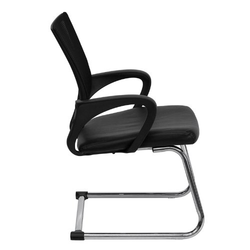 Flash Furniture Black Mesh Side Reception Chair with Leather Seat and Sled Base