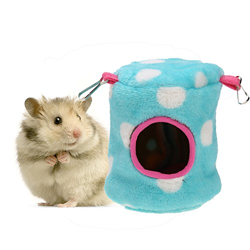 Jocestyle Hamster Hammock Small Animal House Rabbit Mice Squirrel Toy House with Bed Mat 4.33 x 4.33 x 4.33 inch (Blue)
