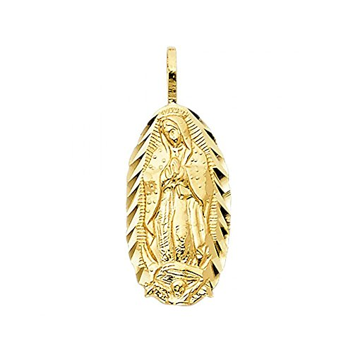 (American Set Co. 14k Yellow Gold Religious Virgin Mary Pendant Charm )