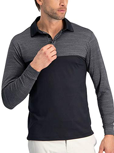 Three Sixty Six Long Sleeve Polo Shirts for Men - Men's Long Sleeve Golf Polos - Dry Fit Fabric]()