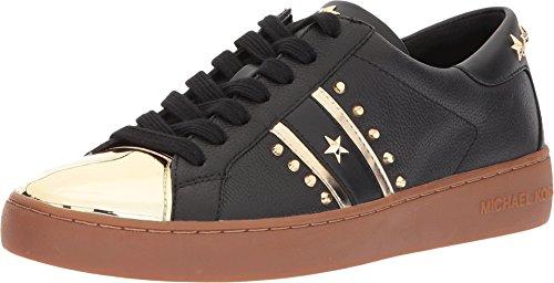 Michael Kors Womens Frankie Stripe Sneaker Leather, Black/Pale Gold, Size 8.5 (Michael Kors Frankie)