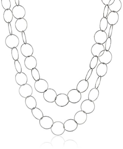 Sterling Silver Long Open Circle Link Necklace, (Sterling Silver Circle Link Necklace)