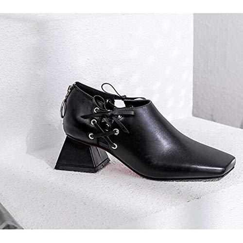 Block amp; Comfort Spring ZHZNVX Black Heels Fall Nappa White Heel White Shoes Women's Leather 0q0xfzXw
