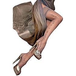Smiffy's-Calze autoreggenti, colore: grigio fumo, ricamo delicato, taglia S/M (8-12)