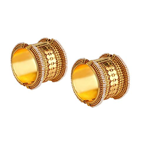 Efulgenz Fashion Jewelry Indian Bollywood Antique Gold Plated Faux Pearl Coin Style Combo Bracelet Bangle (2 Pc)
